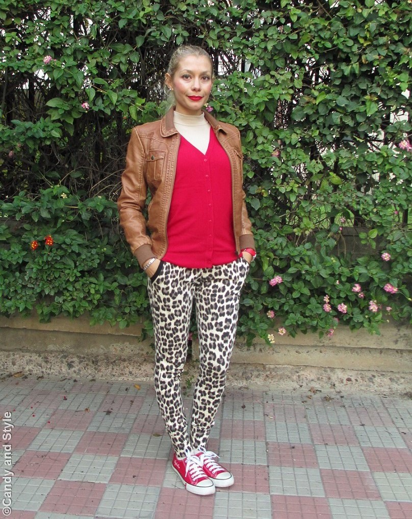 CamelBomber, RedCardigan, LeopardPrintPants, RedSneakers, HighPonytail - Lilli Candy and Style Fashion Blog