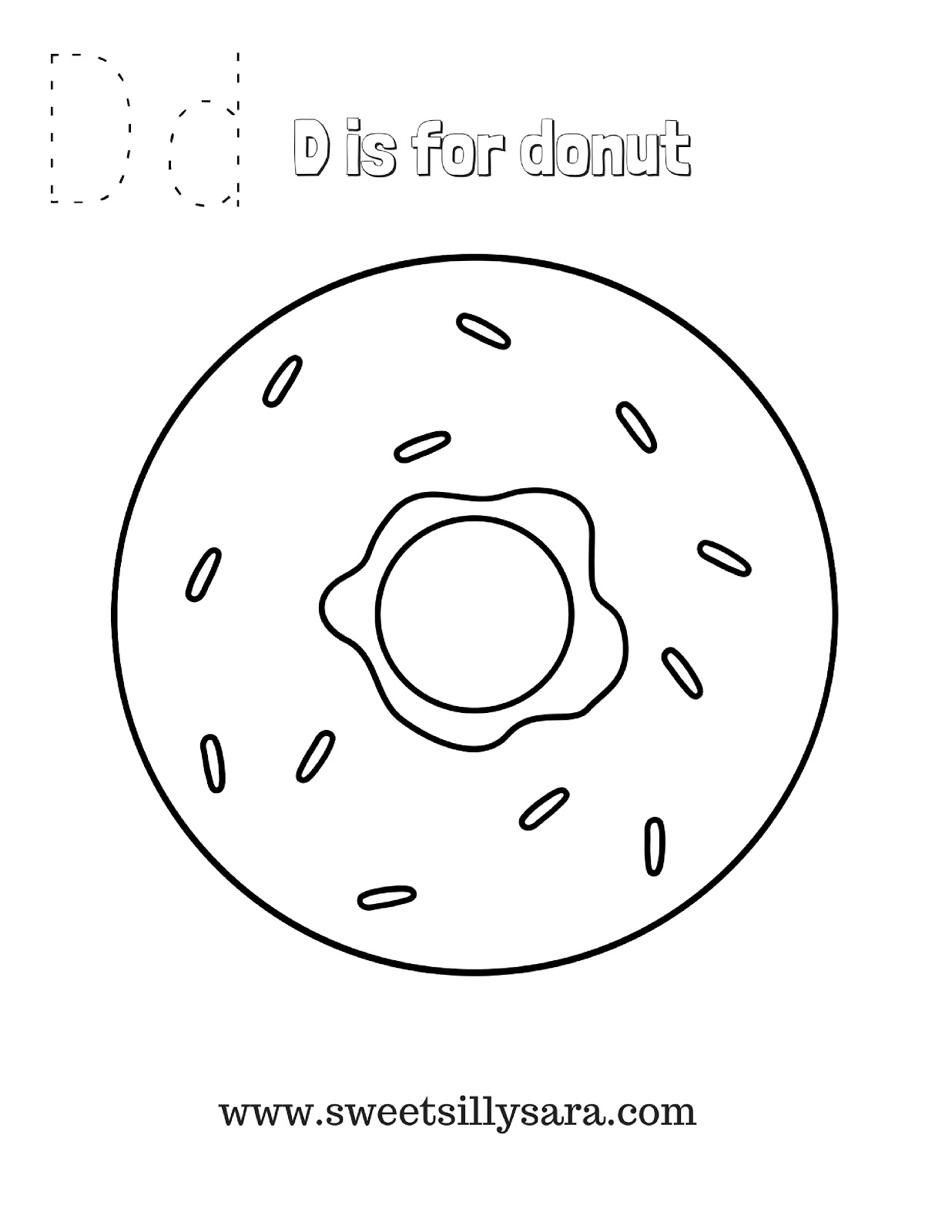 Sweet Silly Sara: D is for Donut Coloring Page