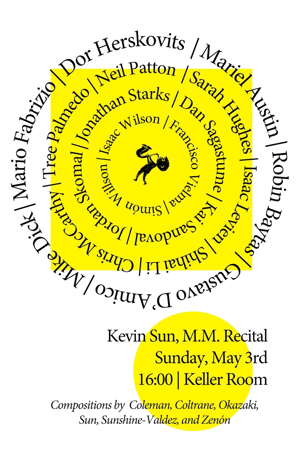 Kevin Sun Jazz Saxophone Recital Poster, New England Conservatory
