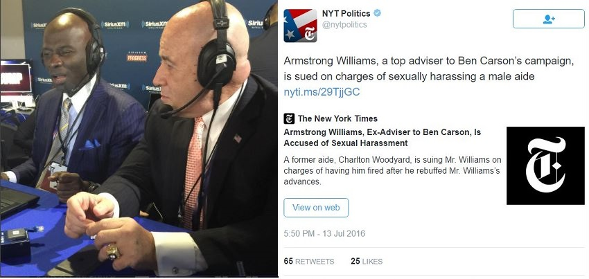 Another of Felon Bernard Kerik's friends, Armstrong Williams, being sued for sexual harassment