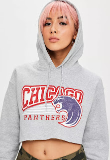 Missguided Chicago Graphic Cropped Hoodie
