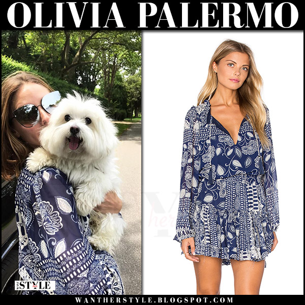 Olivia Palermo in blue printed dress misa los angeles lorena with her dog new york august 2017 what she wore