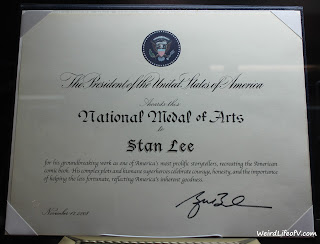 Stan Lee's National Medal of Arts certificate
