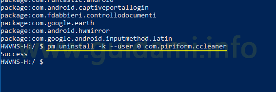 PowerShell Windows comando adb per disinstallare app impartitio