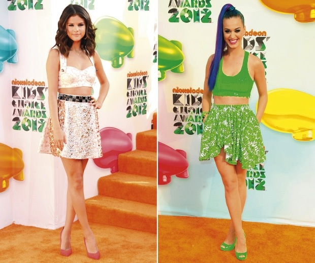 d60f43c6bb74 Selena Gomez in Dolce   Gabbana and Katy Perry in Gerlan Jeans at the  Nickelodeon Kids Choice Awards 2012