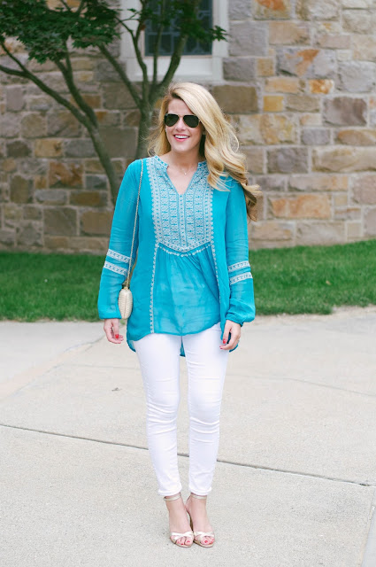tolani teal embroidered tunic