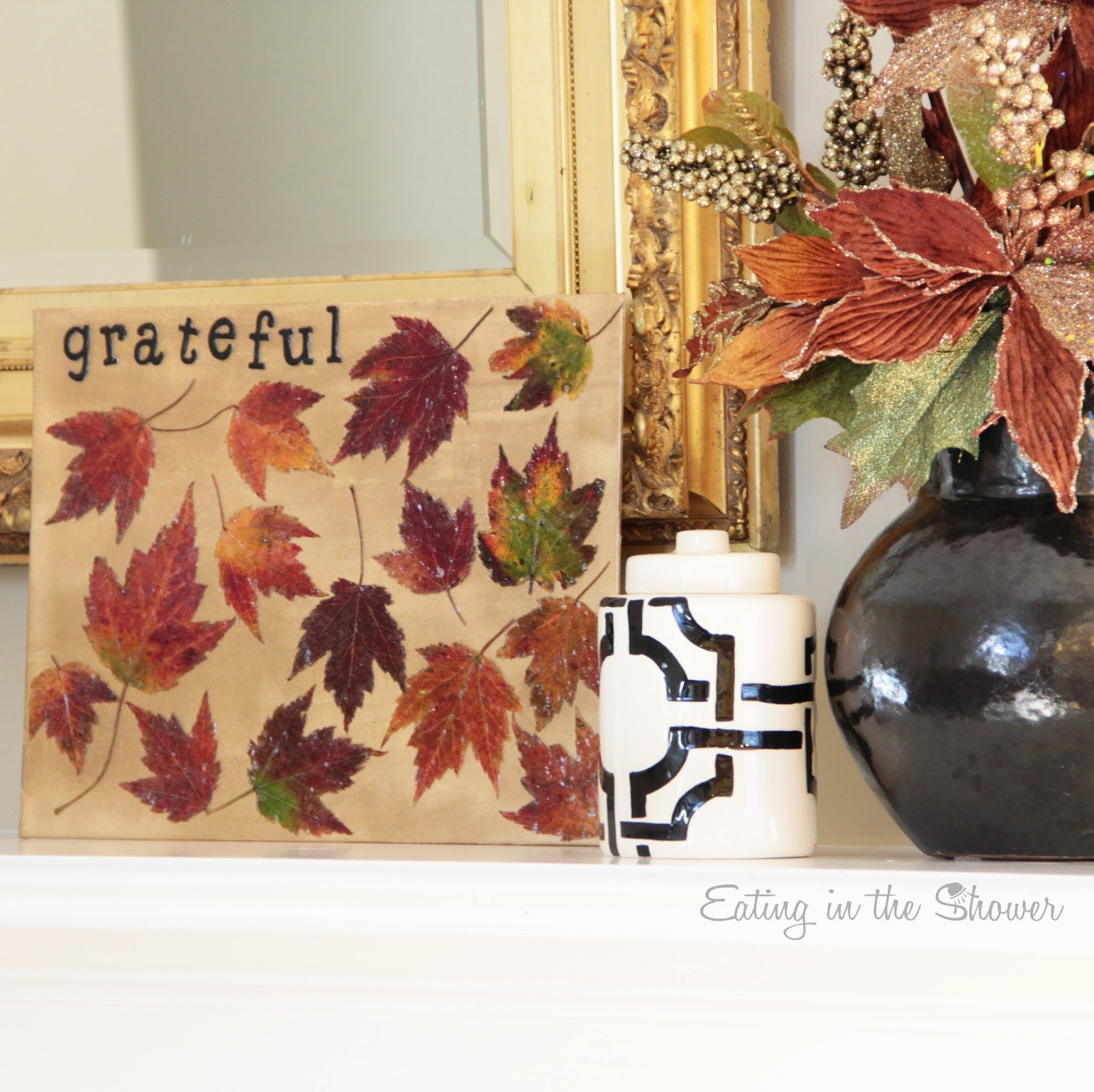 Using Mod Podge to create fall art with a toddler