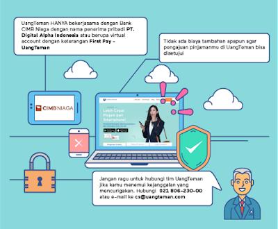 UangTeman saat ini hanya bekerjasama dengan Bank CIMB Niaga atas nama PT. Digital Alpha Indonesia