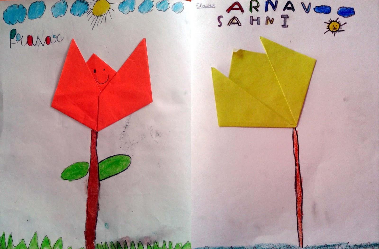 art journey grade 1 paper folding flower. Black Bedroom Furniture Sets. Home Design Ideas