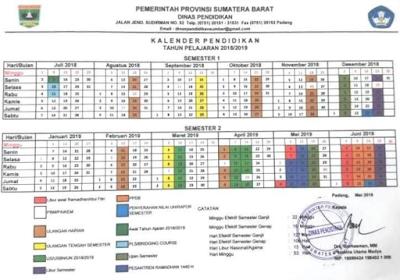 Kalender Pendidikan 2018/2019 Sumatera Barat