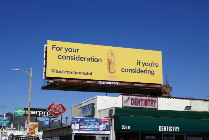 For you consideration Ritual Prenatal billboard