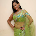 Sanjana Singh Cute in Green Saree Stills