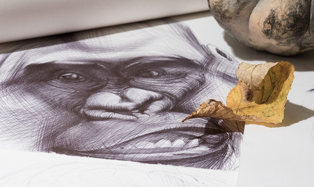 11-Chimpanzee-Yelena-Yefimova-Animals-Drawn-with-Ballpoint-Pens-www-designstack-co