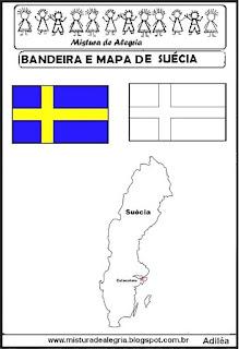 Bandeira e mapa da Suécia