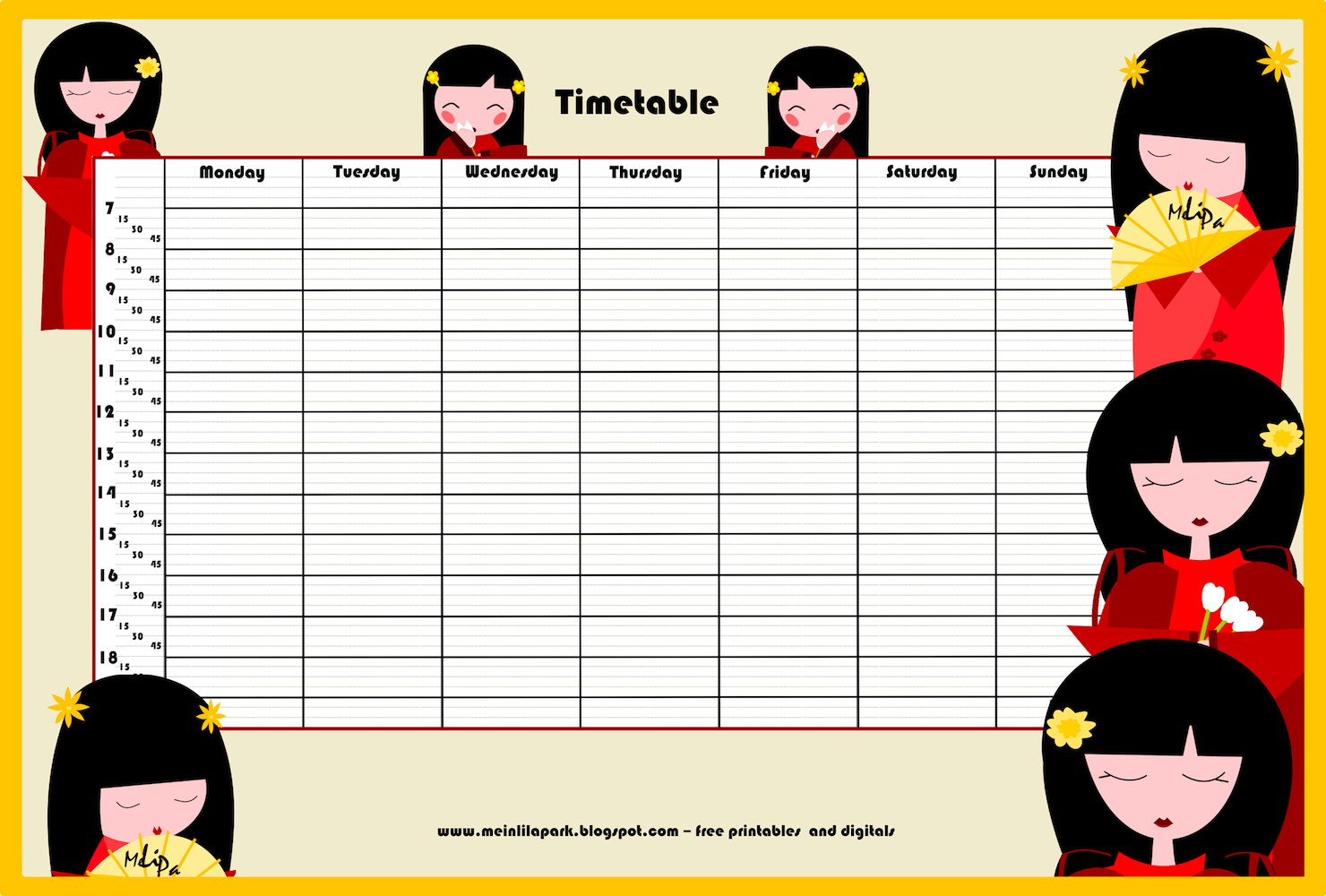 Back To School Ii Free Printable School Timetable