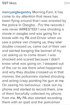 Actress Mercy Aigbe-Gentry debunks reports that she was arrested in Osogbo