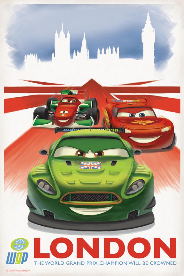 Póster retro Cars 2 (LONDON)
