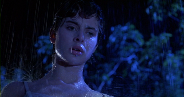 Irena (Nastassja Kinski) dripping wet in a rain storm in CAT PEOPLE (1982).