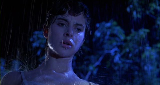 Irena (Nastassja Kinski) dripping wet in a rain storm in CAT PEOPLE (1982).
