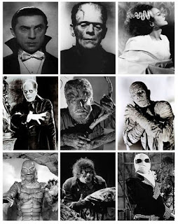 Monsters from Universal Movies: Dracula, Frankenstein, Wolf Man, The Phantom, The Mummy
