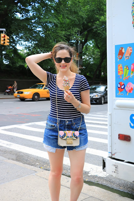 Nyc fashion blogger Kathleen Harper wearing shorts with a bodysuit