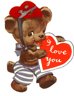 Clipart image of a vintage Valentine with a teddy bear holding a heart