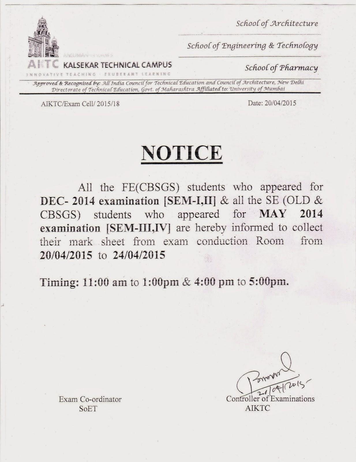 Exam Cell Notice Board Fe Amp Se Marksheet Distribution