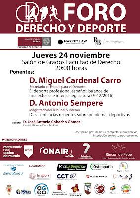 Foros de Derecho y Deporte en la Universidad de Murcia.