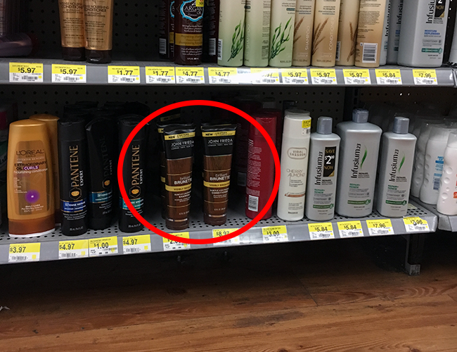 John Frieds Brilliant Brunette Visibly Brighter available at Walmart