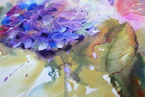 "Original ""Old Garden Hydrangeas"" watercolor painting by Olga Peregood. Fragment"