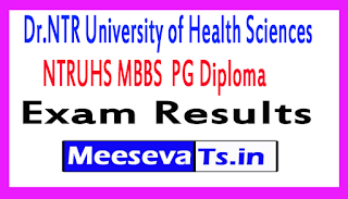 Dr.NTR University of Health Sciences MBBS  PG Diploma Exam Results 2017