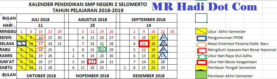 Download Kalender Pendidikan 2018/2019 Versi Excel