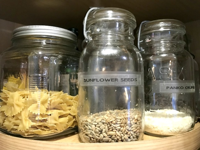 Using mason jars for food organization in the pantry