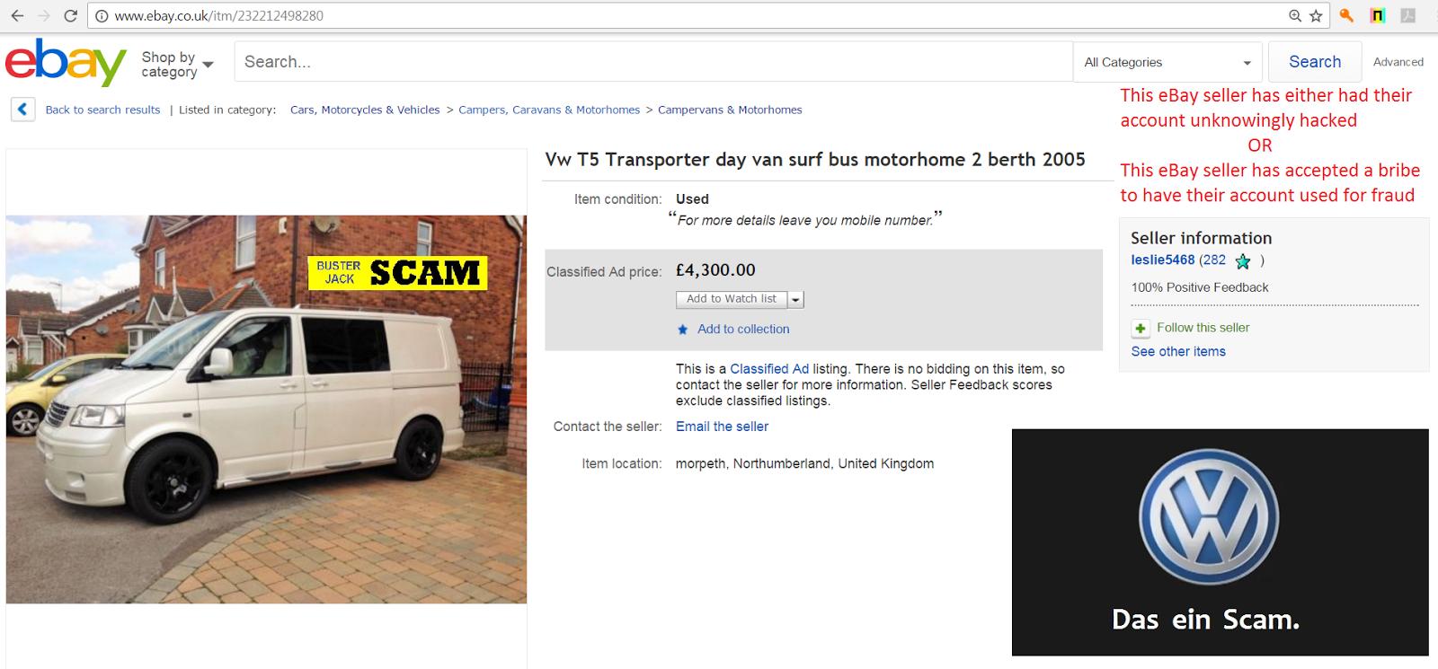 Ebay scam vw t5 transporter day surf van bd55xlm bd55 xlm fraud 20 jan 17