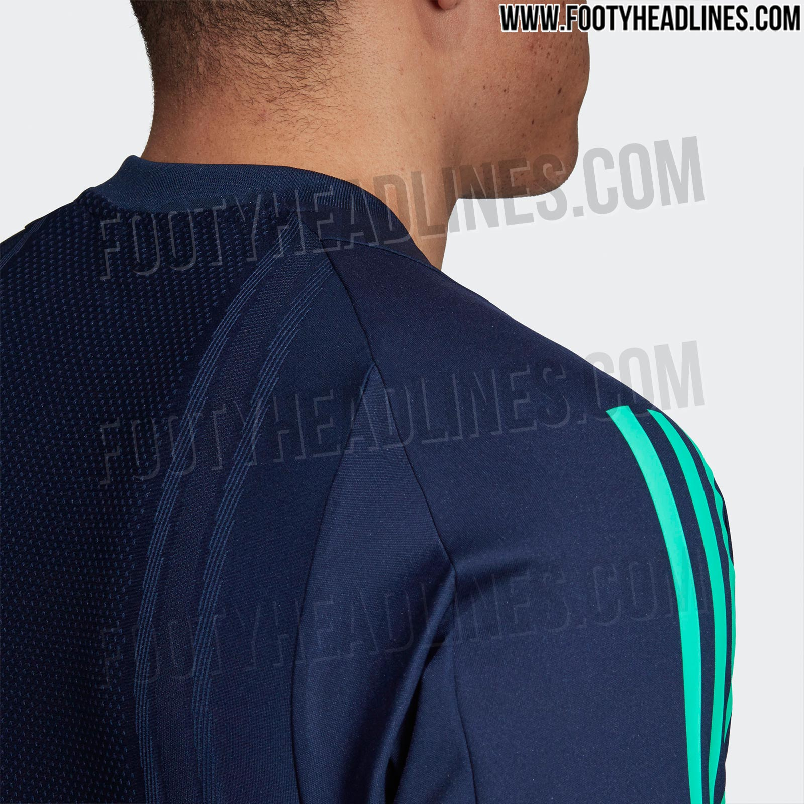 b1bb0f840ec ... away) shirt, the Adidas Real Madrid is navy and turquoise. In fact, it  are the inverted colors of the Real Madrid 2019-20 third kit, just without  white.