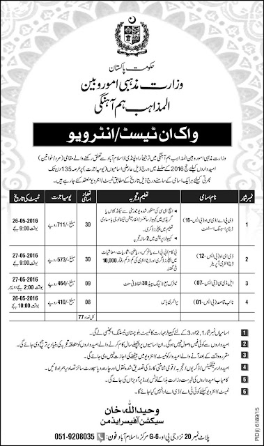 Federal Government Jobs in Ministry Of Religious Affairs Pakistan Jobs 2016