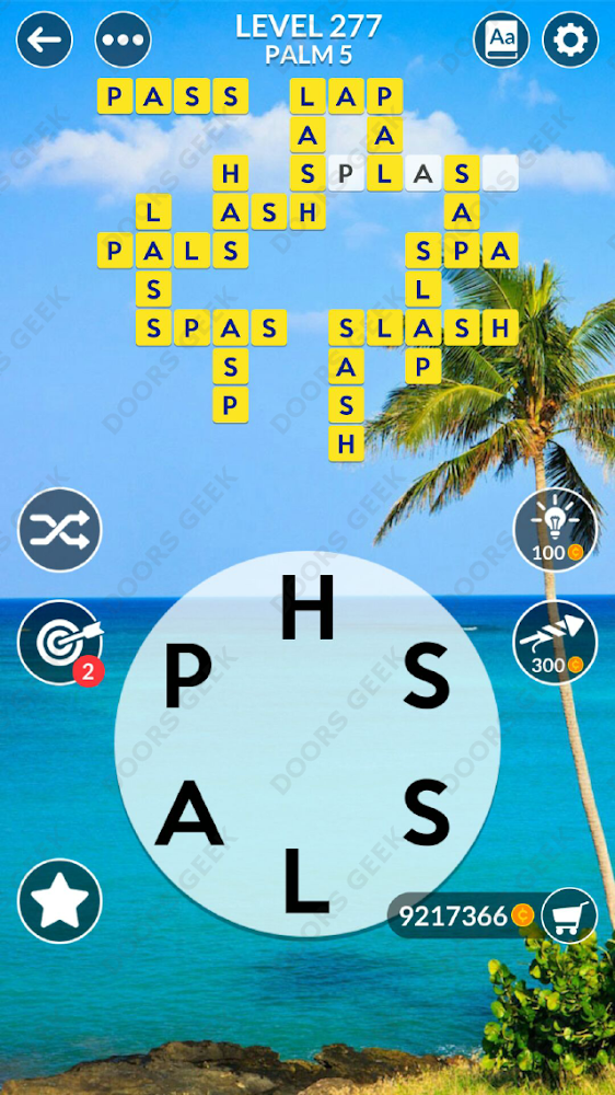 Wordscapes Level 277 answers, cheats, solution for android and ios devices.