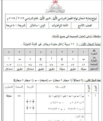 الصف التاسع - الرياضيات - نموذج إجابة امتحان نهاية الفصل الدراسي الأول