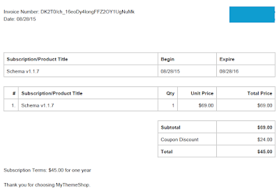 Invoice From Mythemeshop For Schema Purchase