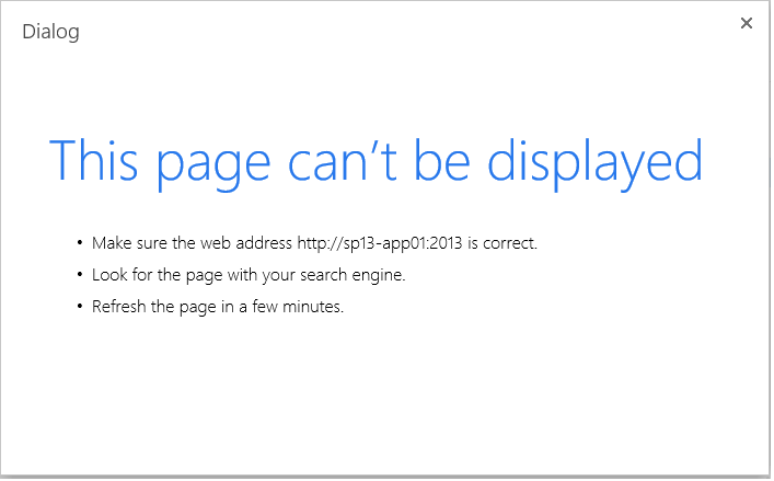 This page can't be displayed error on sharepoint 2013 web application creation