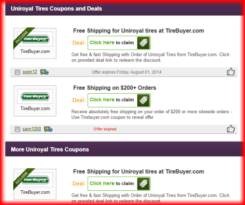 uniroyal tire coupons