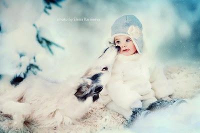 Niño y perro blanco en la nieve