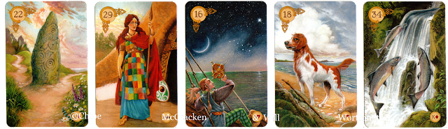 Celtic Lenormand path, woman, stars, dog, fish, line of five