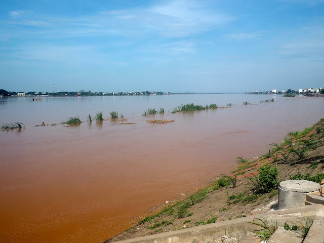 Flooded river through Vientiane, Laos