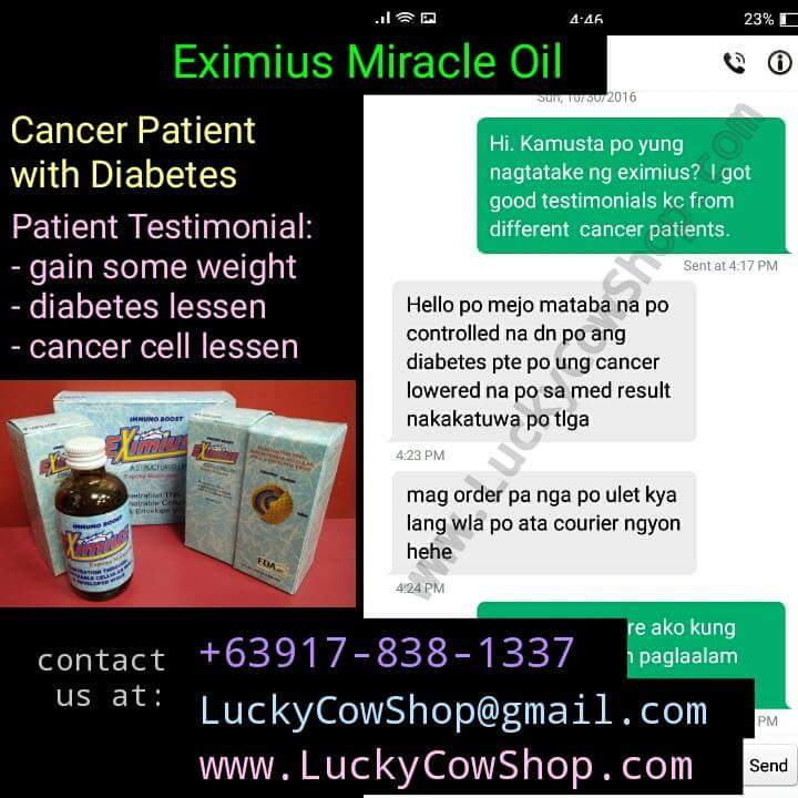 eximius miracle oil cancer diabetes testimonial