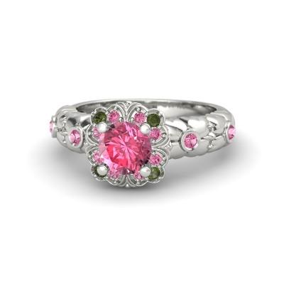 Nhẫn đá Tourmaline hồng