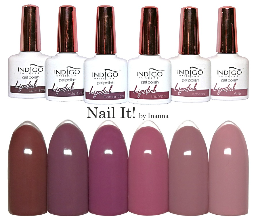 "Indigo Nails ""Lipstick"" Collection - swatches of all 6 colors"