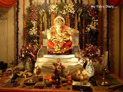 Complete Ganpati pandal decorations during the Ganesh Chaturthi festival
