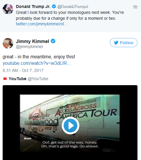 Late night hosts, Jimmy Kimmel and Seth Meyers troll Donald Trump & his son on Twitter