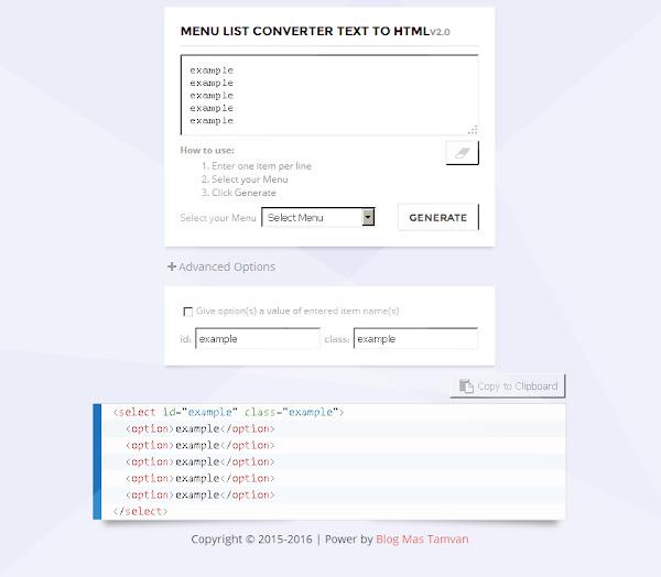 Menu List Converter Text To HTML
